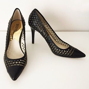 Michael Kors Black Gold Studded Pointed Heels